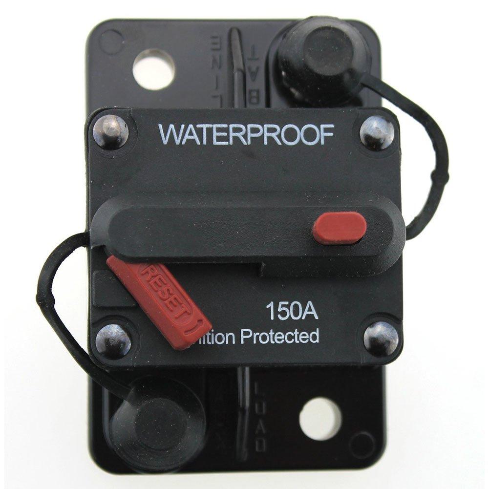 Tocas (TM) T 50/100/150 ampè re Interruptor de rearme manual 12 V-48 Vdc, resistente al agua 150A negro Lula