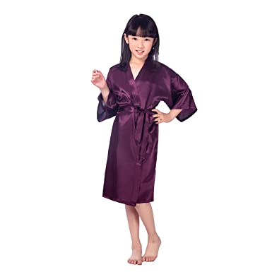 Amazon.com: Children\'s Silk Stain Pure Kimono Wedding Dressing Gown ...