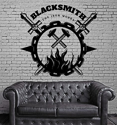 (BorisMotley Wall Decal Blacksmith Forging Metal Iron Works Vinyl Removable Mural Art Decoration Stickers for Home Bedroom Nursery Living Room Kitchen)