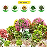 32 Pieces Model Trees 3.5cm - 10cm Mixed Model Tree Train Scenery Architecture Trees Fake Trees for DIY Crafts, Building Model, Scenery Landscape Natural Green