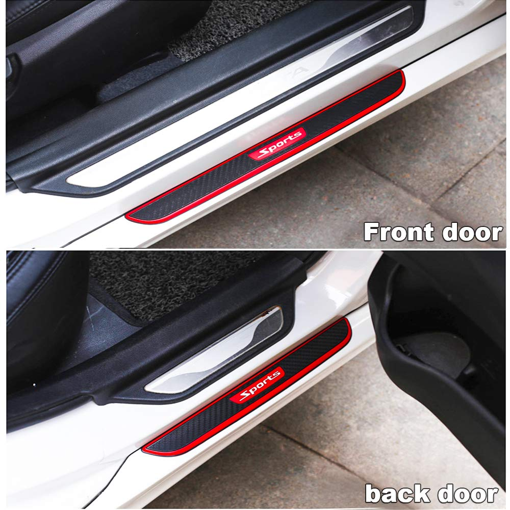 B Haichen 4Pcs Carbon Fiber Front Rear Door Entry Sill Guard Scuff Plate Protectors Anti-kick Scratch Protector for Most Cars