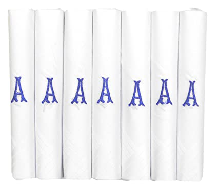 ETHO 7 Pack Of Mens Handkerchiefs With Blue Embroidered Initials, A