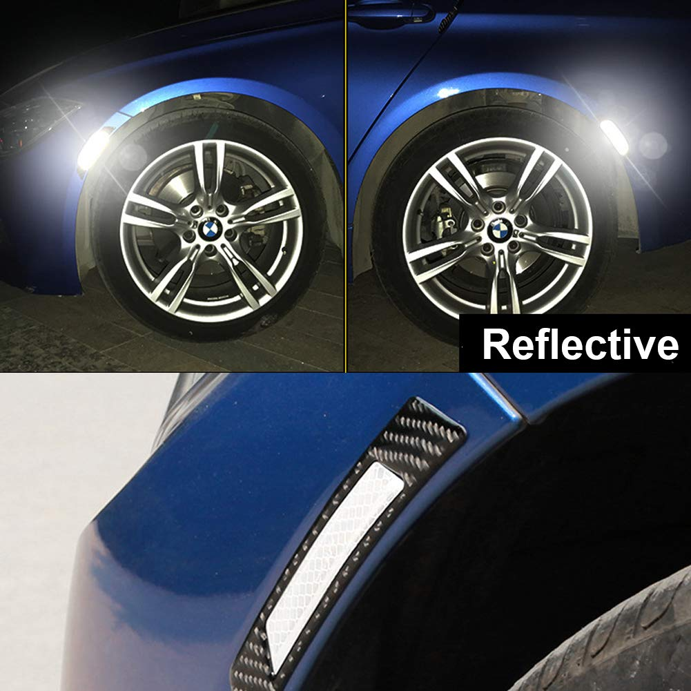 ZaCoo 2 Pcs Auto Reflective Tape Carbon Fiber Texture Car Wheel Arch Safety Reflector Strips Sticker Yellow