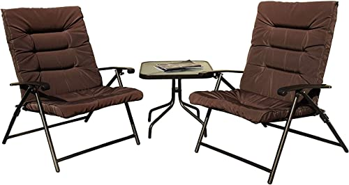 Kozyard Elsa 3 Pieces Outdoor Patio Furniture Padded Folding Bistro-Sets for Yard, Patio, Deck or Backyard Dark Brown