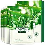 Face Mask Aloe Facial Mask Sheet Hydrating Moisturizing Revitalizing Facial Mask Sheet for Dry, Oily, Sensitive and Tired Ski