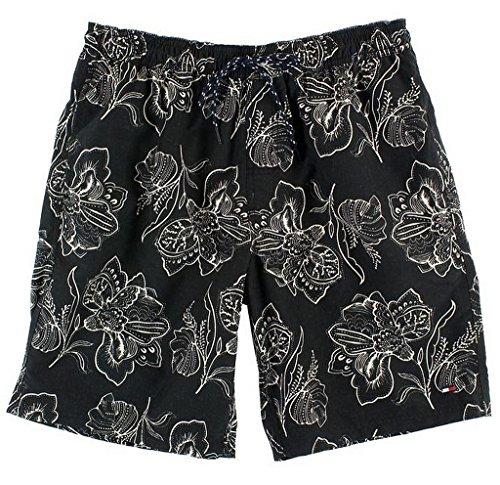 Tommy Hilfiger Mens Swim Trunks (Black/White, M)