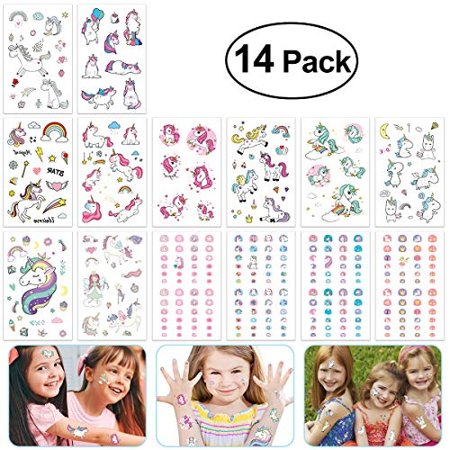 Tattoos Nail Temporary (TOYMYTOY Unicorn Party Favors Unicorn Stickers Tattoos Unicorn Nails Sticker Nail Art Temporary Stickers Tattoos for Birthday Party Baby Showers 14 Sheet)