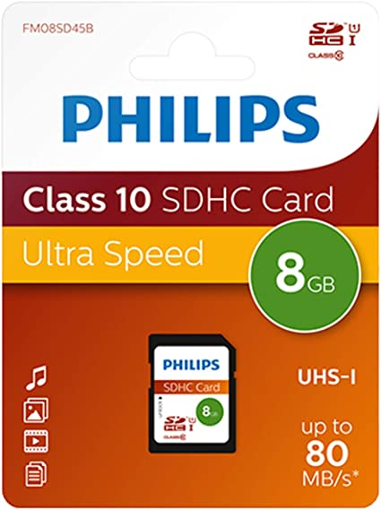 Xlyne Philips Fm08sd45b Class 10 Sd Card 8 Gb Black Computers Accessories