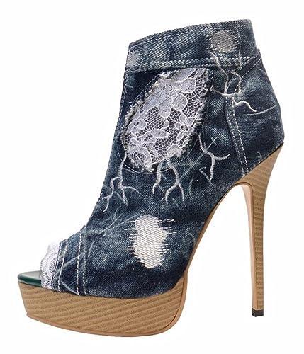 512cd107ad2 Amy Q Women s Platform Peep Toe Denim Ankle Boots Lace Decoration Stiletto  Heels Size 4
