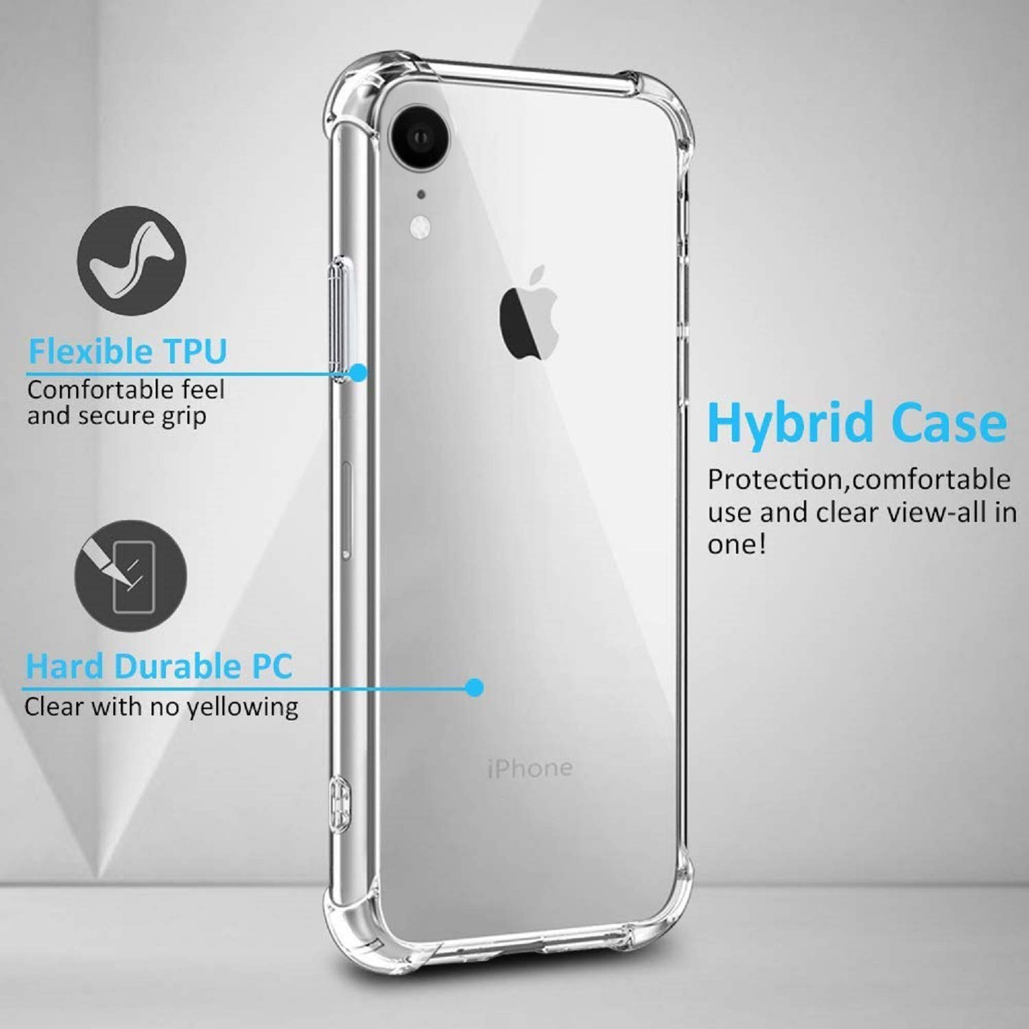 iPhone XR Cases - iPhone xr Phone case - Soft TPU with Reinforced Bumpers – Transparent (100% Clear)