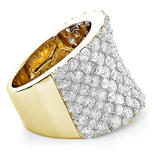 14K Gold Unique Diamond Wedding Bands Ladies Pave Diamonds Ring 8ctw G-H color (Yellow Gold, Size 7.5) by Luxurman (Image #1)