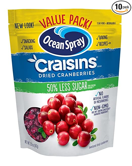 Ocean Spray Craisins Dried Cranberries, Reduced Sugar, 20 Ounce Value Pack(Pack of 10)