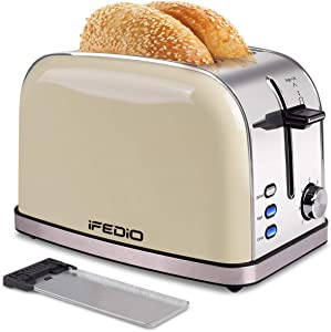 Toaster, 2 Slice Toaster Best Rated Prime Stainless Steel Retro Bread Toasters with Bagel, Defrost, Cancel Function 7 Bread Shade Settings and Removable Crumb Tray Extra Wide Slots Toaster(White)