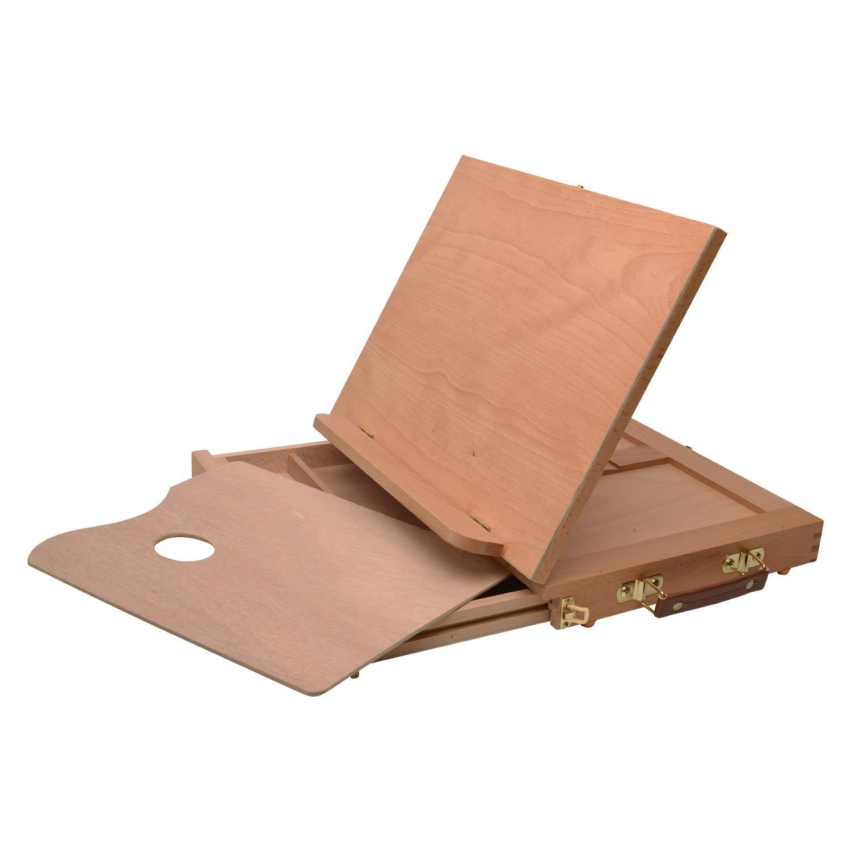 Artina Cavalletto pittura da tavolo Calais 33x26x3cm - tavolozza e cassetto portautensili - valigetta e funzione leggío