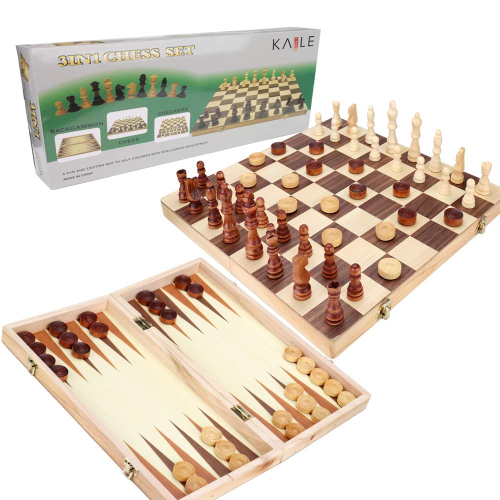 KAILE 3-in-1 Wooden Chess Set & Checkers & Backgammon Set with Folding Carrying Case Folding and Travel Chess Board for Adults and Kids 15 inch by KAILE
