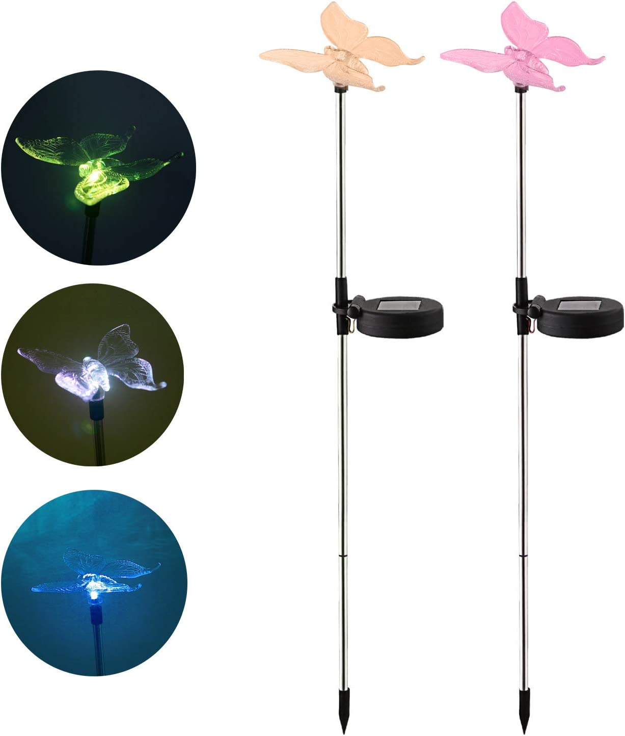 Outdoor Waterproof Color Changing Solar Garden Stake Light with Vivid Butterfly Figurine, LED Garden Landscape In-ground Path Light for Yard Lawn Halloween Christmas Decorations Flower Beds 2 Pack