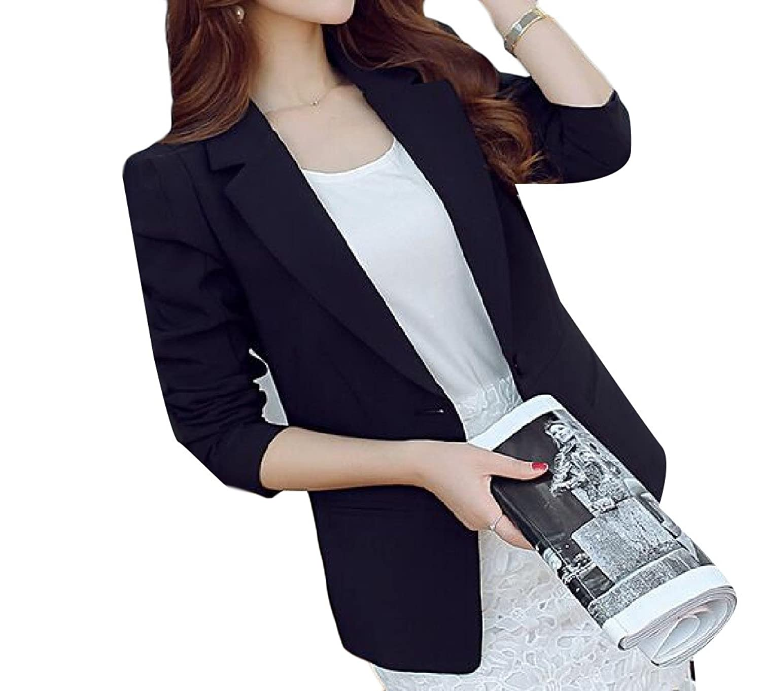 Abetteric Women Pure Color Long Sleeve Slim Fit Small Blazer Suit Jacket