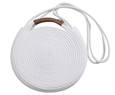 6e9ad16d4c02 Round Cotton Rope Shoulder Bag with Leather Handles and Shoulder Strap,  White
