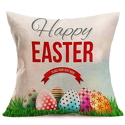 (FIN86 Farmhouse Style Easter Egg Hunt Sign Vintage Egg Truck Décor Spring Country Gift Cotton Linen Home Decorative Throw Pillow Case Cushion Cover with Words for Sofa Couch, 18