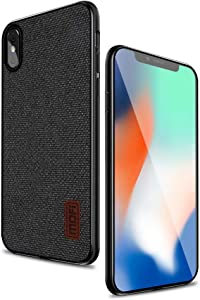 Mofi Protective Case Compatible with iPhone X 5.8 Inch Case Thin Slim Shockproof Matte Fabric Cover for Apple iPhoneX (Black)