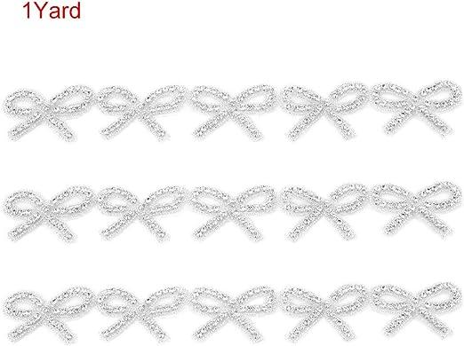 Garosa 1 Yard Crystal Rhinestone Chain Bow Dress Decoration Trim Applique for Sewing Trims Wedding Decoration