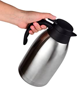 Cresimo 68 Oz Stainless Steel Thermal Coffee Carafe / Double Walled Vacuum Flask / 12 Hour Heat Retention / 2 Liter Tea, Water, and Coffee Dispenser