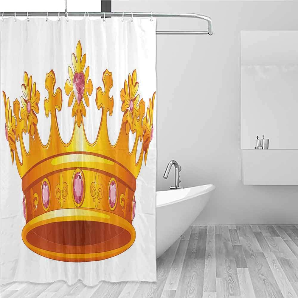 BE.SUN Large Shower Curtain,Queen,Shower Curtain with Hooks,W48x72L Yellow Light Pink by BE.SUN