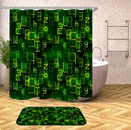SARA NELL Shower Curtain Programmer Bright Green Digital Retro Electronic Led Signs Shower Curtains (72