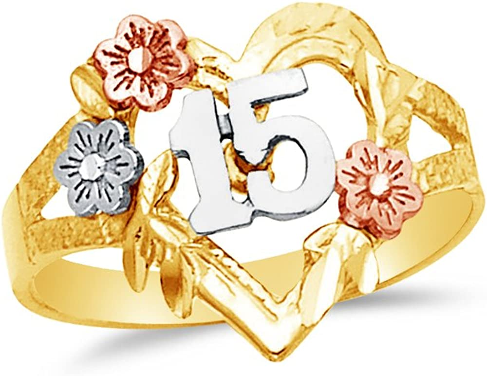 Jewel Tie Solid 14k Rose Yellow /& White Gold 15 Years Birthday Heart Ring 4 Size