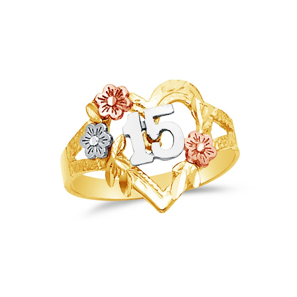 Size Jewel Tie Solid 14k Rose Yellow /& White Gold 15 Years Birthday Heart Ring 7.5