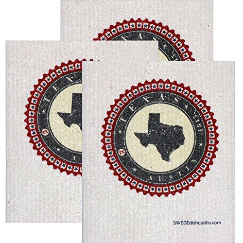 Swedish Dishcloth by SWEDEdishcloths | Set of 3 each Swedish Dishcloth Badge Design - Texas | Eco Friendly Cleaning Absorbent Cloth Eco Friendly Cleaning Wipes (Each Design)