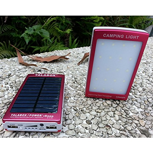 TALABOX 15000mah Portable Red solar charger Outdoor travelling Camping lamp solar power bank solar battery charger solar backup battery with LED Light Charging Compatible for Iphone6s,6,6 Plus,5,5s and Sumsung S6,S5,S4,note5,note4,note3,Blackberry,Nokia,HTC ,HUAWEI And All Android Smart Phones,Cell Phones,Tablet PC,Digital Cameras and other sports USB devices.(Red)