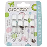 OsoCozy Diaper Pins - {White} - Sturdy, Stainless