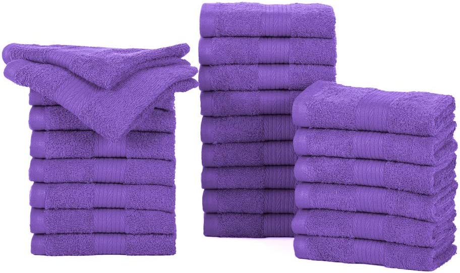 Ample Decor Cotton Cotton Pack of 24 Face Towel Set/Washcloth, 12 x 12 Inches Soft Quick Dry Cotton Hotel spa Collection Wash Cloth – Purple (24 Piece)