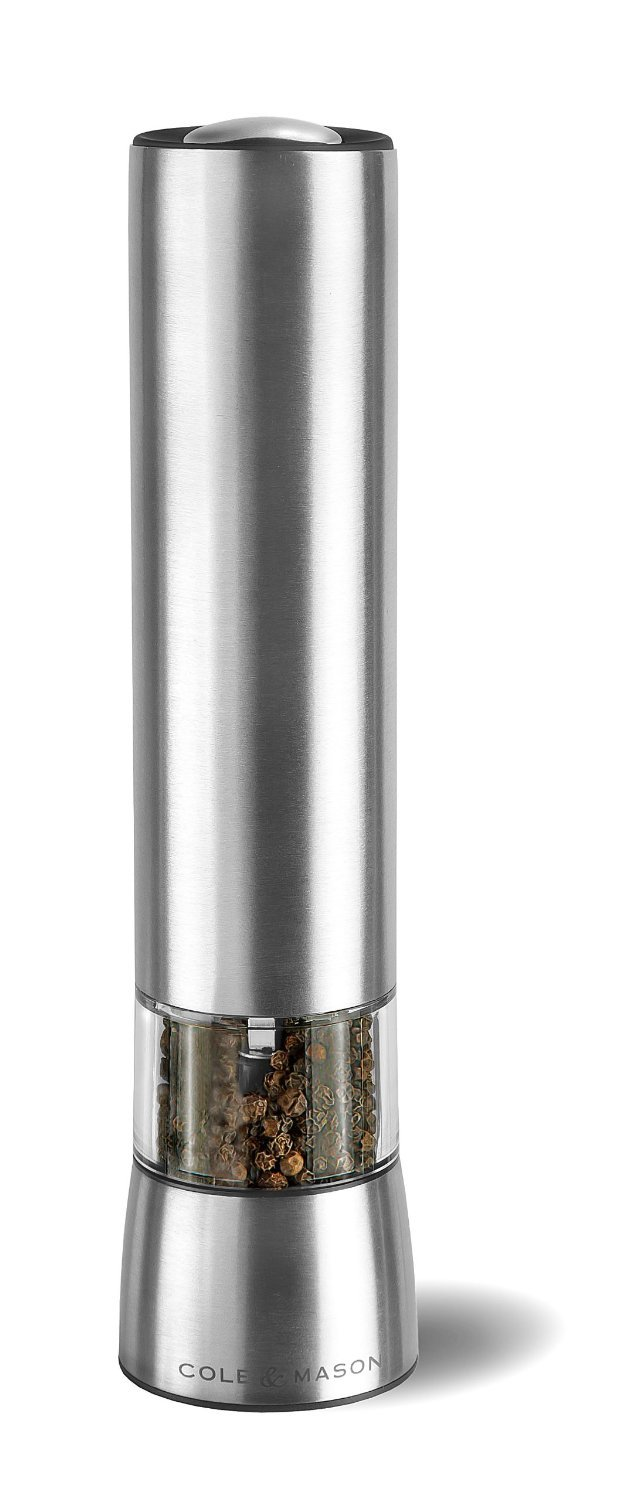 COLE & MASON Hampstead Electric Pepper Grinder with LED Light - Electronic Battery Operated Peppercorn Mill, Stainless Steel