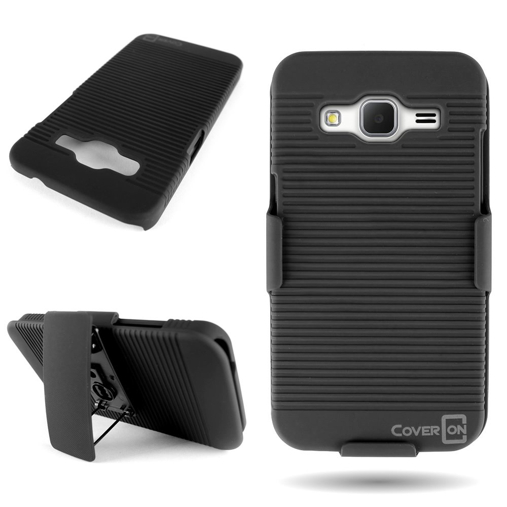 CoverON Kickstand Holster Belt Clip Hard Combo Case for Samsung Galaxy Core Prime / Prevail LTE - Black Rubberized Cover