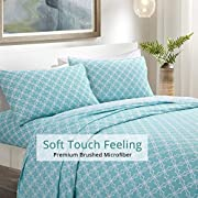 HollyHOME Twin Bed Sheets Brushed Microfiber Print Sheets Soft Sheet Sets Wrinkle Fade and Stain Resistan, Quatrefoil Teal