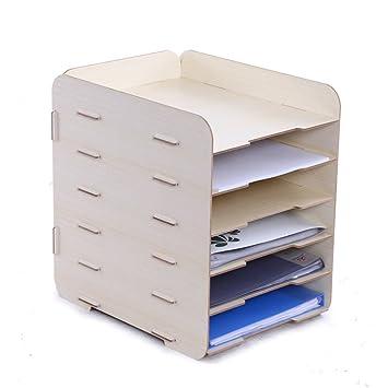f/ür Dokumente im Format A4 braun entnehmbare Zwischenb/öden 6/F/ächer GossipBoy-Ablage//Ordner f/ür den Schreibtisch Holzoptik /übereinander