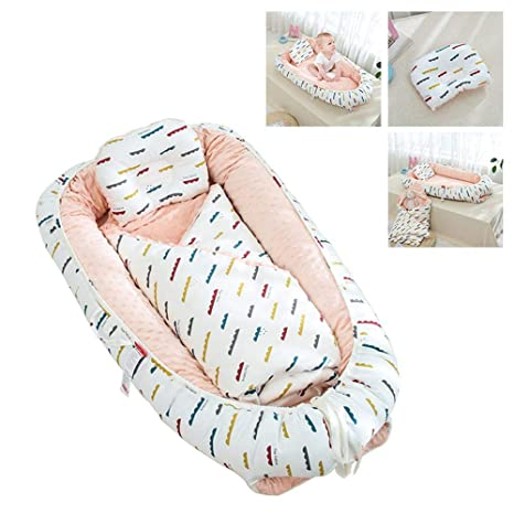 Newborn Crib Lounger 100/% Cotton Crib Mattress Volwco Baby Lounger Removable Cover Bionic Bed Soft Breathable Baby Snuggle Nest