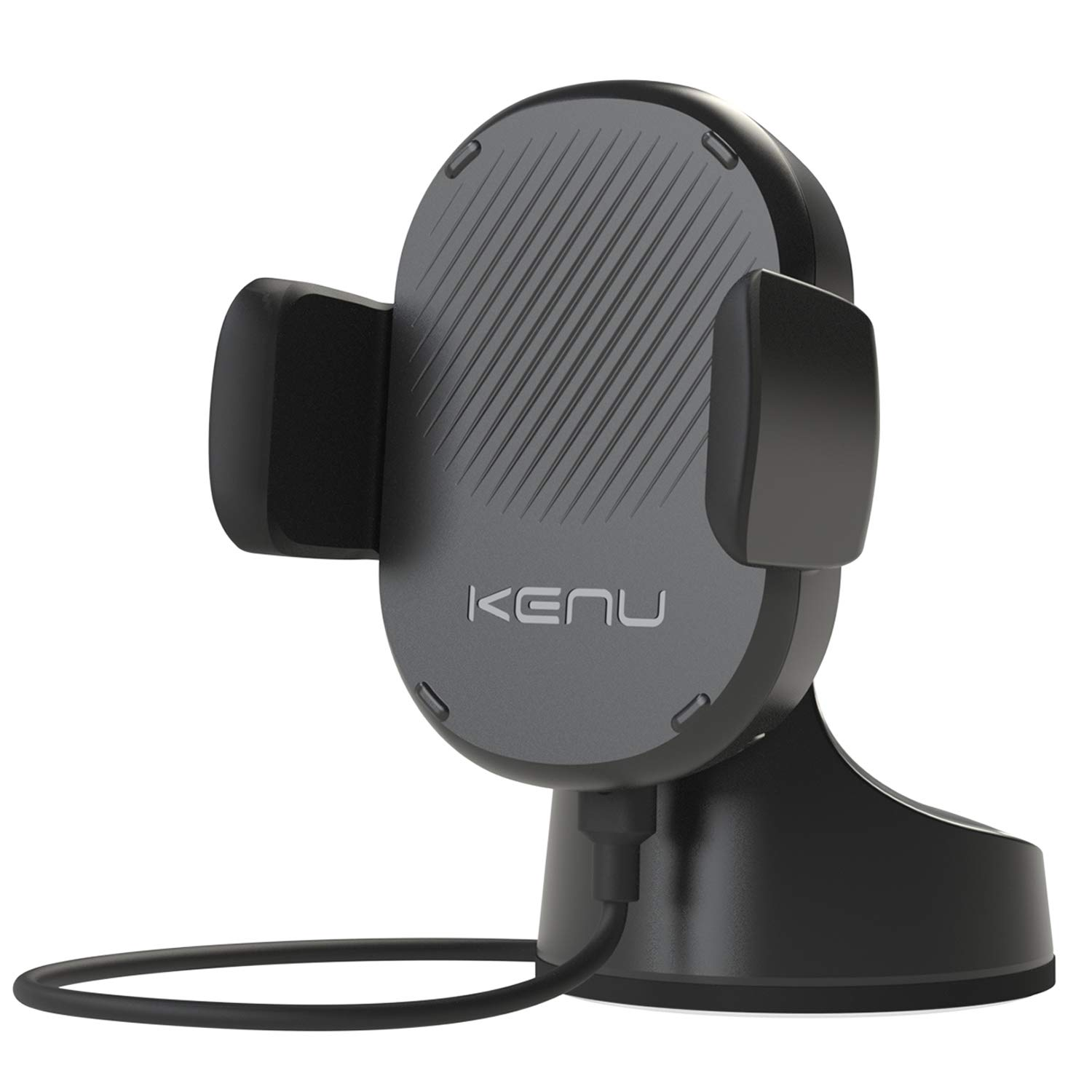 Kenu Airbase Wireless | Qi Fast-Charging Dashboard Car Mount | Wireless Car Charger for iPhone 11 Pro Max/11Pro/11, iPhone Xs Max/Xs/XR/X, iPhone 8 Plus/8, Pixel 3XL/3, Samsung Galaxy | Black by Kenu