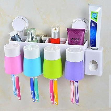 Familia de calidad creativa baño suspendido ventosa cepillo de dientes titular crema dental de cuatro artículos
