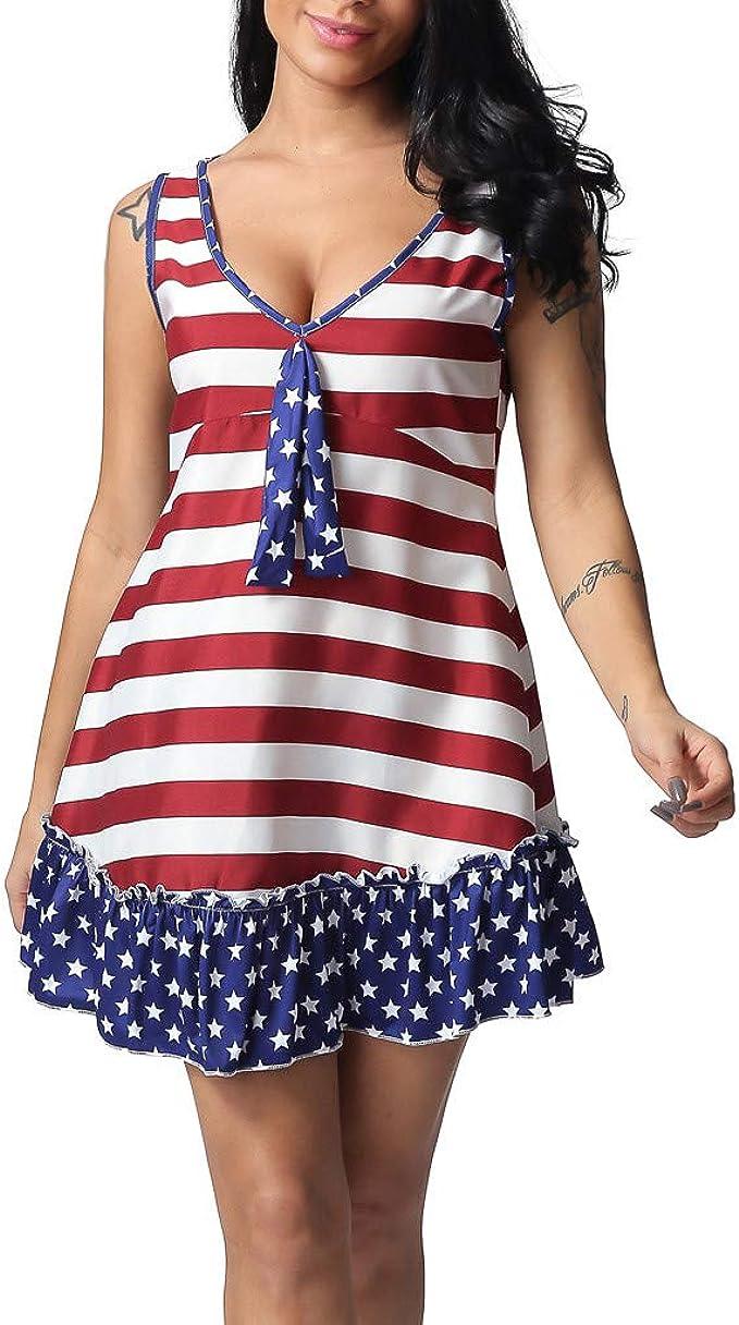TWBB Kleid Damen,Damen Kleid mit Amerikanische Flagge
