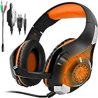 AFUNTA GM-1 Auricular para Juegos de PS4 Xbox One Tablet PC Celular, Estéreo LED Retroiluminada Auriculares con Micrófono - Naranja