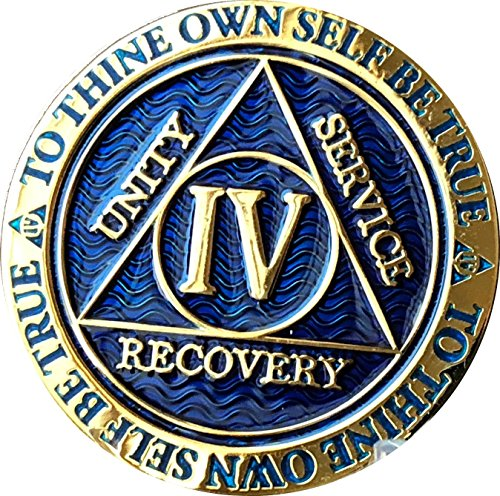 Recoverychip 4 Year Reflex Blue Gold Plated AA Medallion Alcoholics Anonymous Sobriety Chip