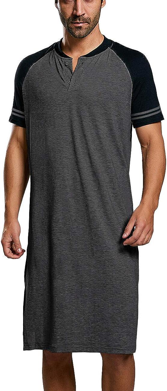 Mens Cotton Nightshirts Raglan Short Sleeve Henley Neck Comfy Nightgown Long Sleepwear Nightwear
