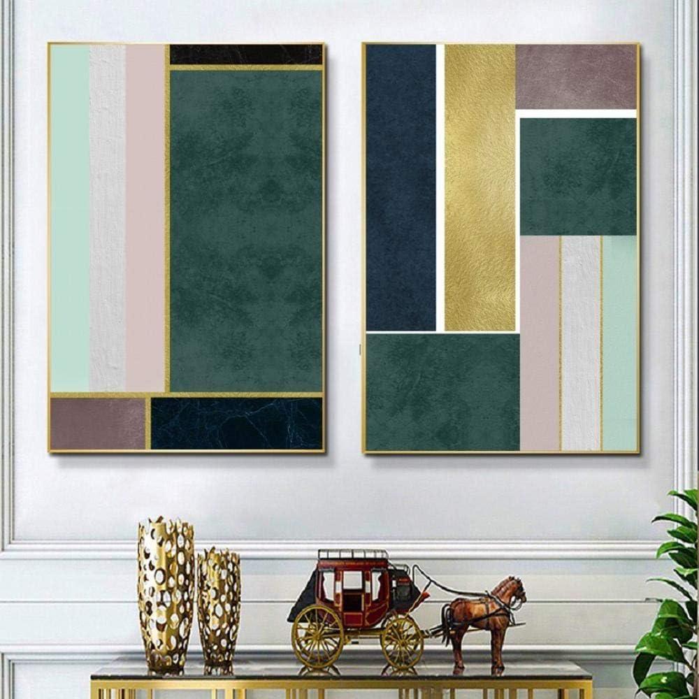 Impresión del arte abstracto geométrico verde lujoso arte de la pared lienzo pintura dormitorios carteles cuadros, sala decoración interior pintura 50x70cmx2 sin marco