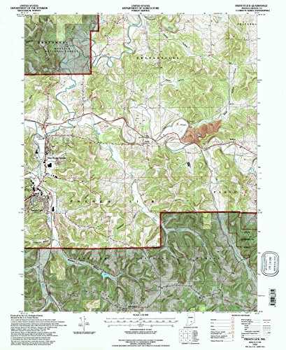 YellowMaps French Lick in topo map, 1:24000 Scale, 7.5 X 7.5 Minute, Historical, 1993, Updated 1996, 26.8 x 21.9 in - Paper