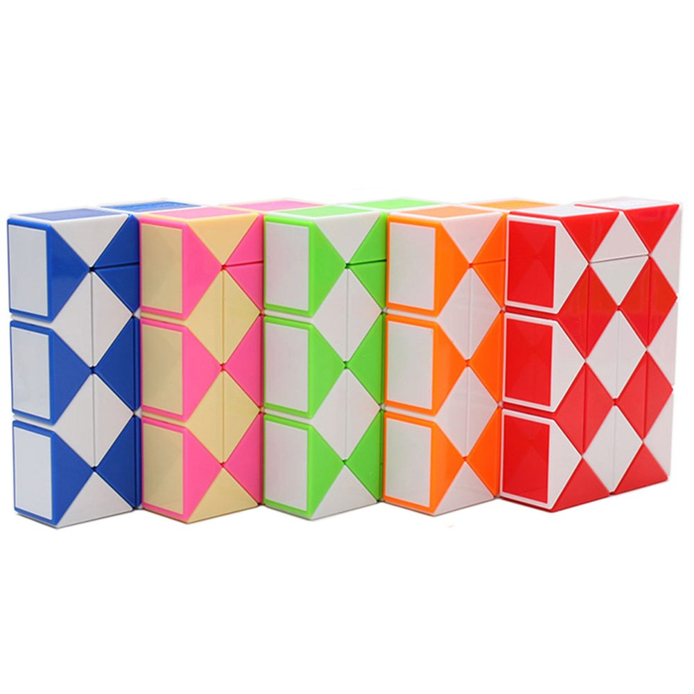 Leoie Children Collection 24 Wedges Magic Ruler Creative Snake Twist Puzzle Twisty Toy Intellectual Development Red White