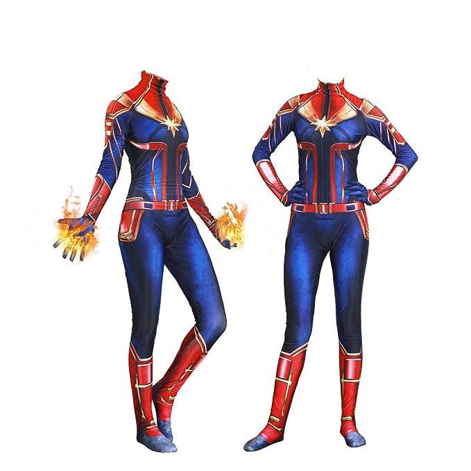 YiranYijiu Captain Superhero Suit Halloween Cosplay Costume Carol Danvers Spandex Bodysuit Zentai
