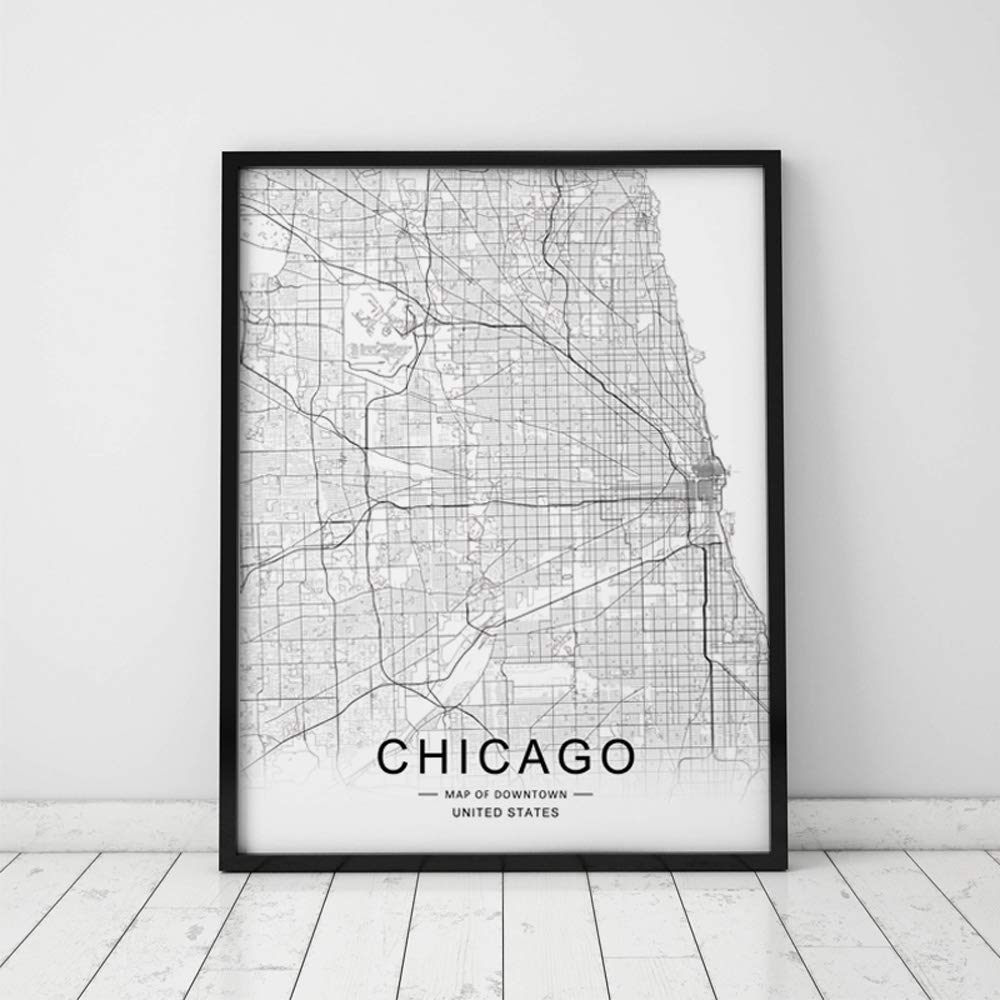 Chicago City Downtown Map Wall Art Chicago Street Map Print Map Decor City Chicago Road Art Black and White City Map Office Wall Hanging 8x10 inch No Frame